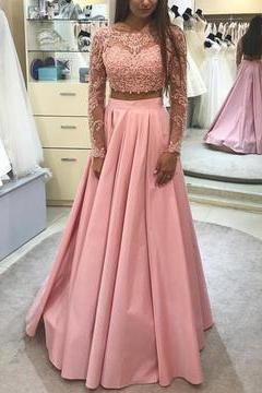 Handsome Two Pieces Prom Dress, Lace Long Sleeves Prom Dress, Pink Floor Long Prom Dress
