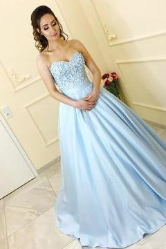 Gentle Strapless Prom Dress, Beaded Long Prom Dress, A-Line Stain Prom Dress