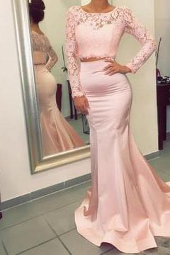 elegant pink lace prom dress, long sleeves prom dress, mermaid evening dress, two piece prom dress