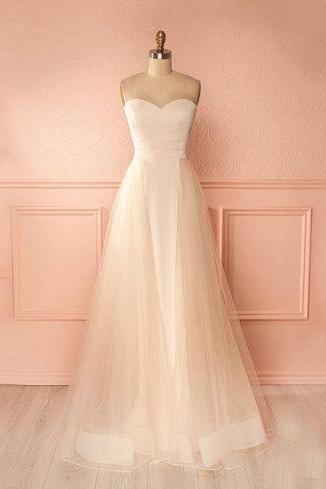 White Sweetheart Tulle A-line Floor-Length Prom Dress, Evening Dress