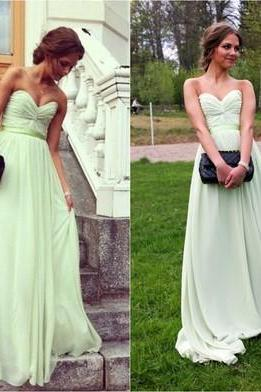 Light Green Chiffon Prom Dress, Sweetheart Long Prom Dress, Simple Evening Dress