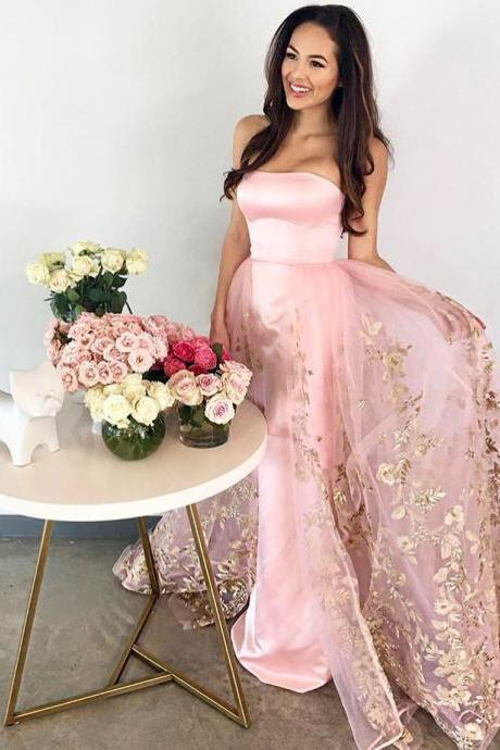 Custom Made Pink Strapless Satin Evening Dress, Prom Dress with Gold Lace Appliques