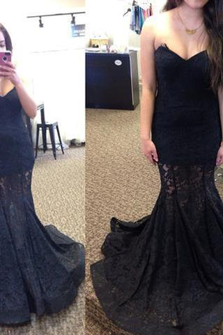 Sweetheart Long Mermaid Black Lace Prom Dresses, See Through Prom Dresses 50014
