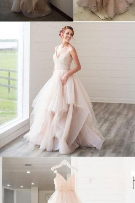 Shinning Tulle Ball Gown, V Neck Prom Dress, Spaghetti Straps Long Dress 52038