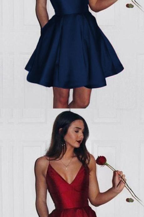 Navy Blue/ burgundy homecoming dress, v neck short prom dress 199
