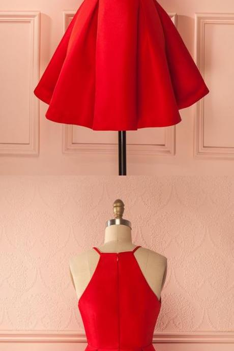 Simple Red Satin Halter Short Homecoming Dress 212