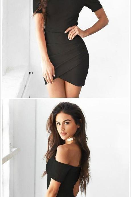 Off Shoulder Black Casual Sheath Dress with Surplice Skirt