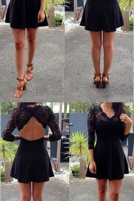 Black Short Homecoming Dress with Lace Back, Prom Dress with Long Sleeves 449