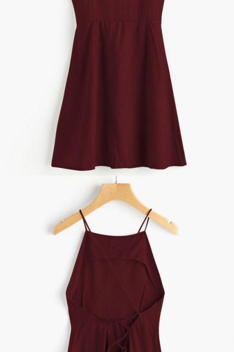 Burgundy Spaghetti Straps Homecoming Dress, Short Satin Prom Dress 471