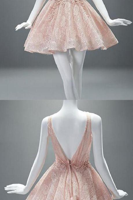 New Arrival Sexy V Back Homecoming Dress, Short Pearl Pink Lace Prom Dress, Scoop Evening Gowns with Appliques 561