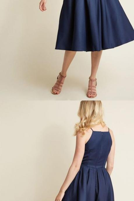 Navy blue homecoming dress, short homecoming dress, simple homecoming dress 751