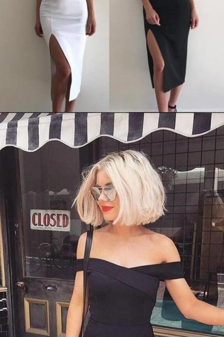 Sexy White/Black Off Shoulder Split Satin Short Homecoming Dress 755