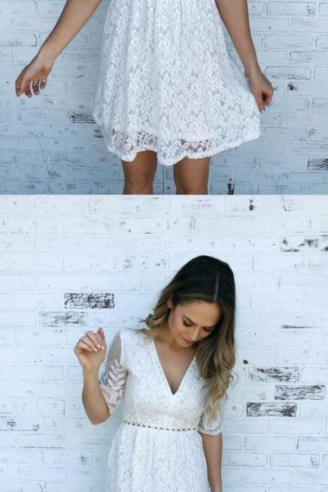 White Lace Short Homecoming Dress, V-Neck Half Sleeve Party Dress 760