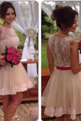 2 Piece Homecoming Dress, Lace Homecoming Gowns, Short Prom Gown, Pink Homecoming Dress 842
