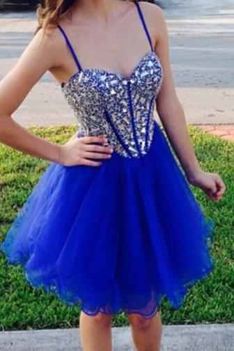 Royal Blue Homecoming Dress, Short Prom Dress, Tulle Homecoming Gowns, Fitted Party Dress, Beading Prom Dress 843