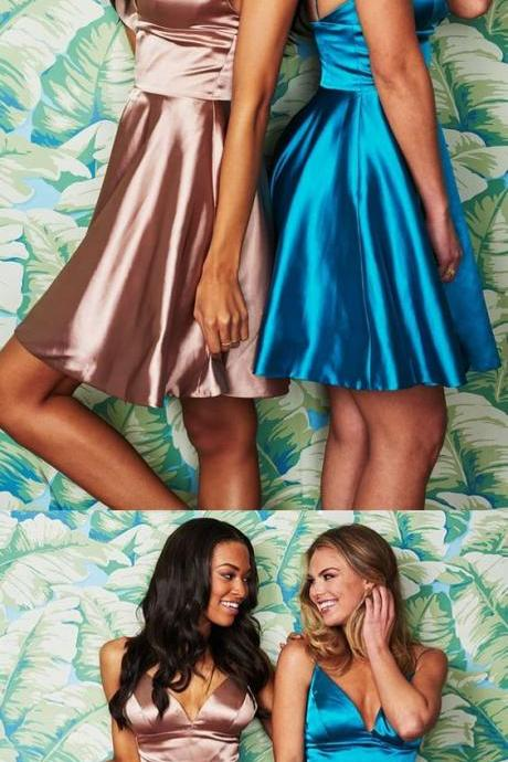 champagne/blue short homecoming dress, spaghetti straps v neck party dress 851