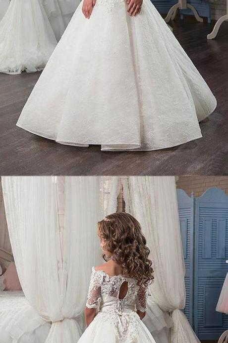 Attractive Lace Satin Off-the-shoulder Neckline A-Line Flower Girl Dress With Beaded 3D Flowers 884
