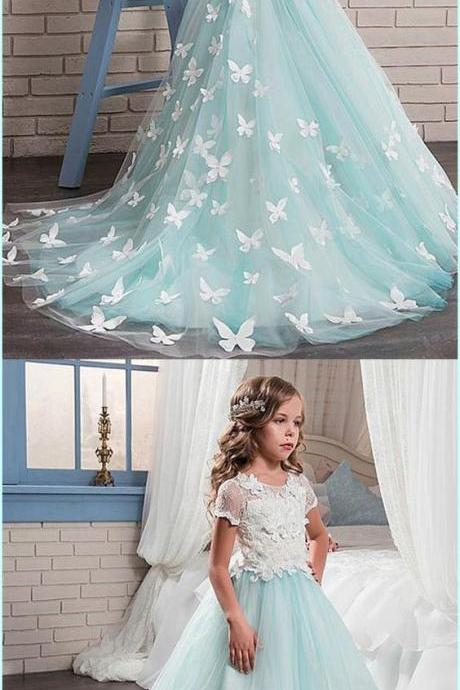 Glamorous Lace & Satin Scoop Neckline A-Line Flower Girl Dress With Lace Appliques 891
