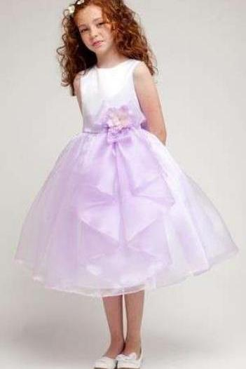Cute Round Neck Princess White Satin and Lavender Tulle Flower Girl Dress 895