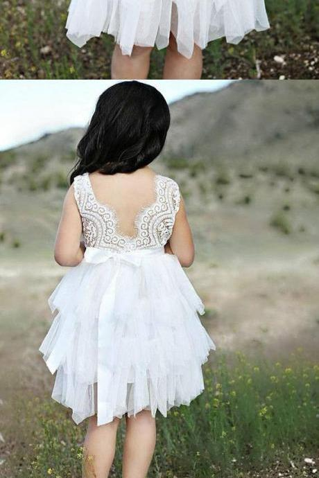 White lace round neck short flower girl dress 898