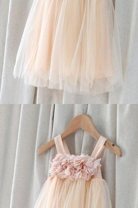 Champagne A-line Spaghetti Straps Tulle Flower Girl Dress 908