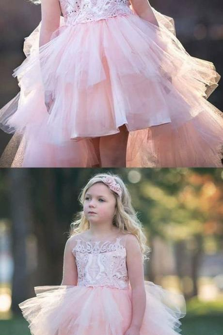 A-Line Round Neck High Low Pink Tulle Flower Girl Dress with Appliques 932
