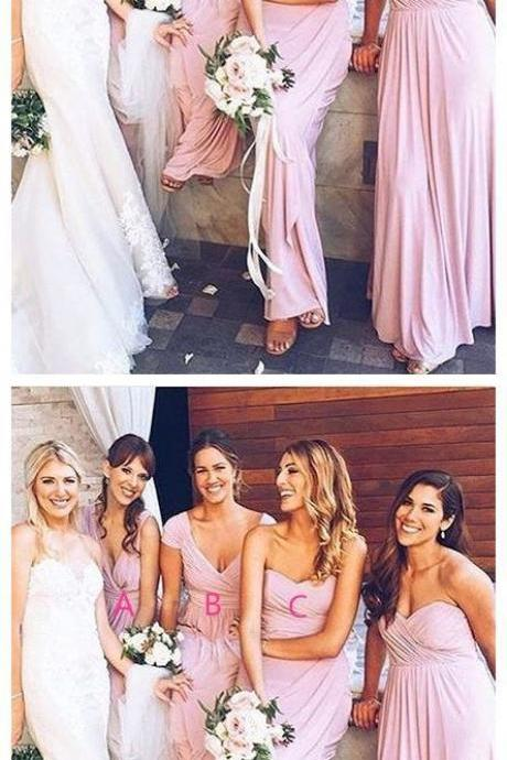 Long Pink Chiffon Mismatched Bridesmaid Dress 52252