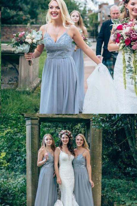 A-Line Spaghetti Straps Grey Bridesmaid Dress with Lace 52254