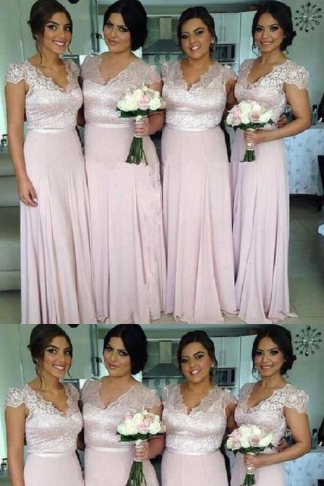 A-line Cap Sleeves Lace Bodice V-neck Light Pink Long Bridesmaid Dress 52255