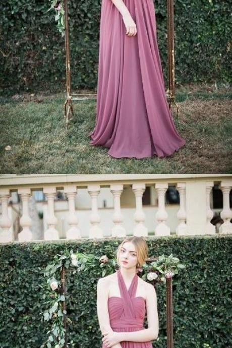 Long bridesmaid dress, chiffon bridesmaid dress, halter bridesmaid dress, burgundy bridesmaid dress 52270