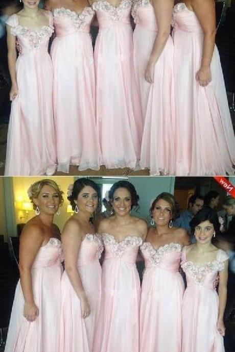 Pink Bridesmaid Dress, Chiffon Bridesmaid Dress, Long Bridesmaid Dress 52358