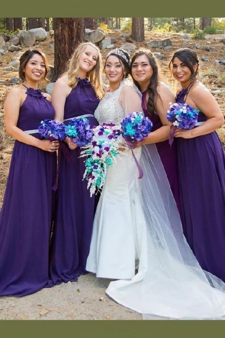 A-Line Bridesmaid Dress, Purple Bridesmaid Dress, Backless Bridesmaid Dress 52361