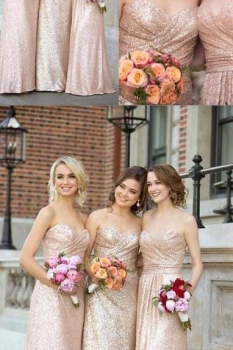 Gorgeous Sequin Sweetheart Long Bridesmaid Dress for Wedding Party 52396