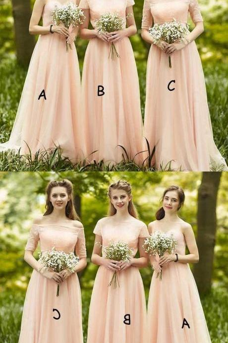 Mismatched Chiffon Off Shoulder/Round Neck or One Shoulder Bridesmaid Dress 52399
