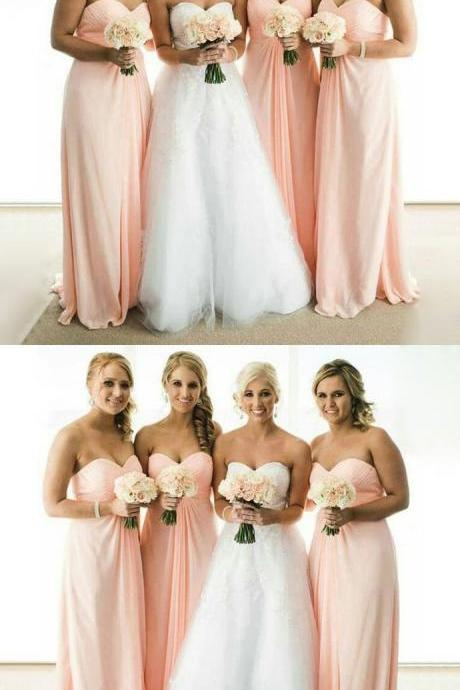 Simple Chiffon Sweetheart Formal A Line Floor-Length Wedding Party Bridesmaid Dress 52401