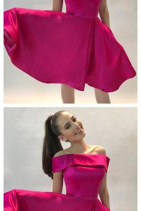 A-LINE OFF-THE-SHOULDER SHORT FUSHICA SATIN PROM HOMECOMING DRESS 1092