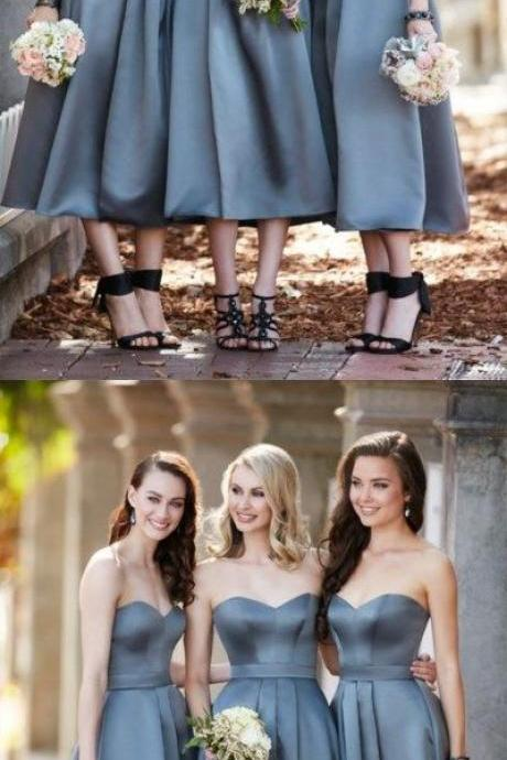 Sweetheart gray satin tea-length bridesmaid dress 52431