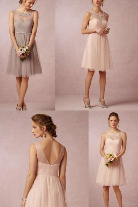 Round Neck Pink/Grey Short Tulle Bridesmaid Dress 52459