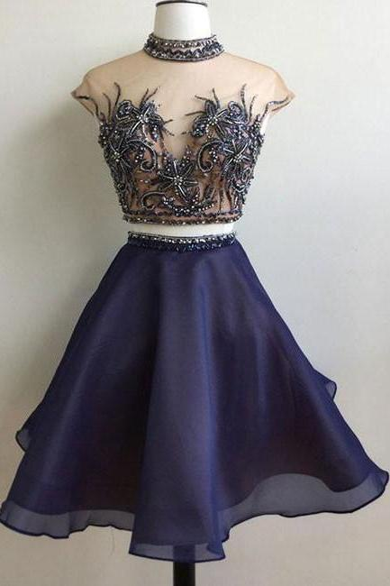 Two Piece High Neck Organza Short Prom Party Dress 1168