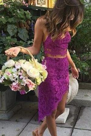 Two Piece Lace Short Homecoming Dress