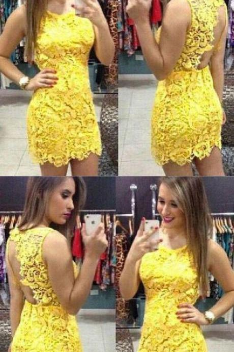 Lace Homecoming Dress , Yellow Mini Dress
