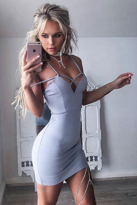 Sheath Spaghetti Straps Sleeveless Short Light Blue Homecoming Dress