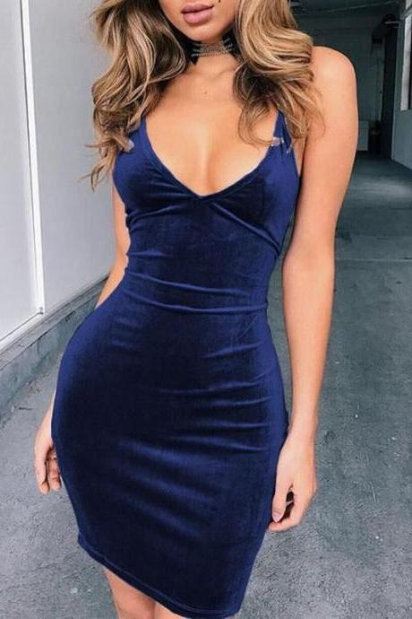 Dark Blue Spaghetti Straps Bodycon Mini Dress