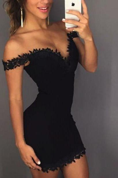 Black Party Dress,Off Shoulder Party Dress,Lace Cocktail Dress