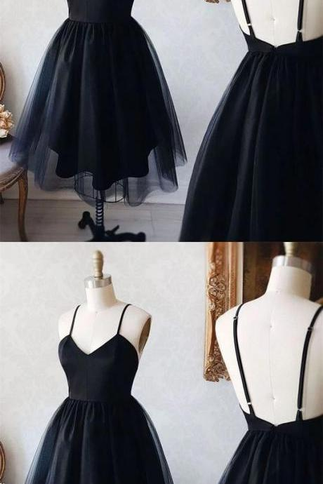 Black Spaghetti Straps Sleeveless Homecoming Short Cocktail Dresses