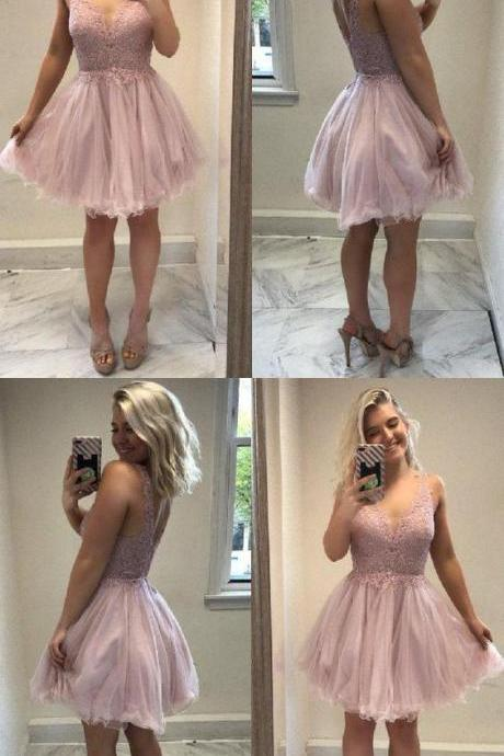 Sleeveless Homecoming Dress, Backless Homecoming Dress, V-Neck Homecoming Dress, Pink Homecoming Dress