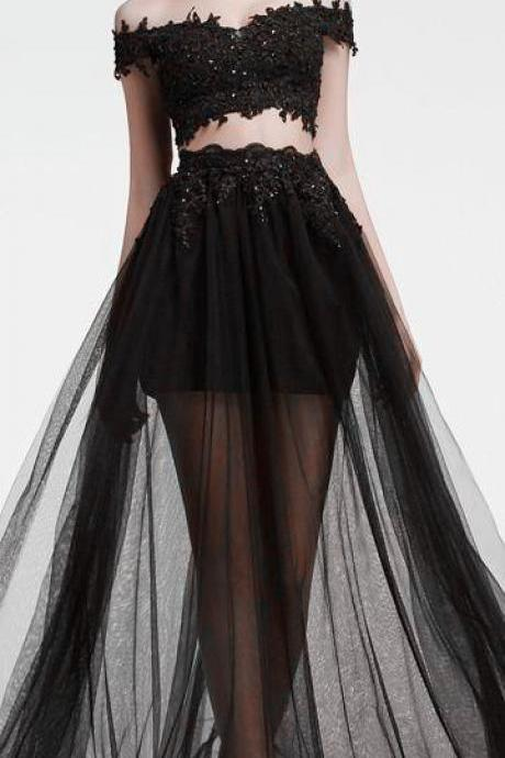 beaded tulle prom dress,blcak prom dresses,new fashion evening gowns,lace prom dress,midriff evening gowns