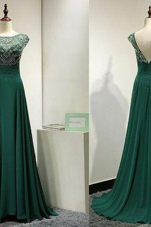 Dark Green Prom Dress,Chiffon Prom Dress, Beaded Prom Dress, Floor Length Prom Dress, Cheap Prom Dress, Prom Dresses 2017,A-line Prom Dress