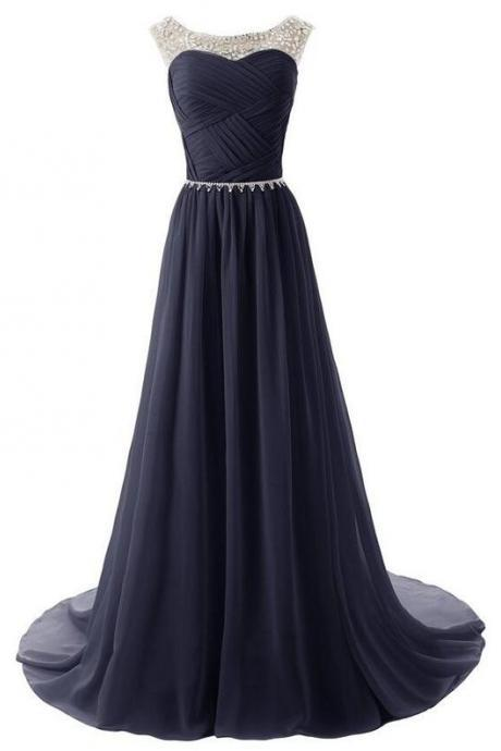 Dark Blue Prom Dress,Chiffon Prom Dress, Beaded Prom Dress, Floor Length Prom Dress, Cheap Prom Dress, Prom Dresses 2017,Sheer Prom Dress