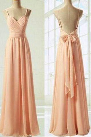 Open Back Prom Dress,Sexy Prom Dress,Chiffon Prom Dress, Floor Length Prom Dress,Bows Prom Dress, Cheap Prom Dress, Party Dresses 2017,Cheap evening Dress